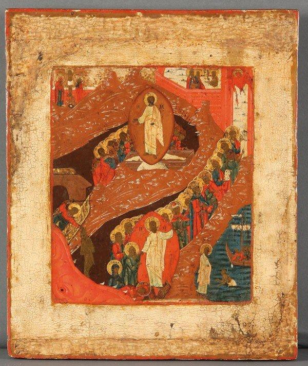 20: RUSSIAN ICON RESURRECTION AND DESCENT, 18TH C.