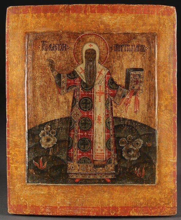 21: A RUSSIAN ICON OF THE METROPOLITAN ALEXEI, 18TH C