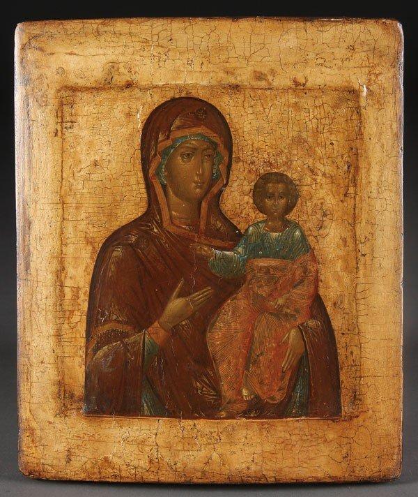 22: RUSSIAN ICON SMOLENSK HODIGETRIA MOTHER OF GOD, 17/