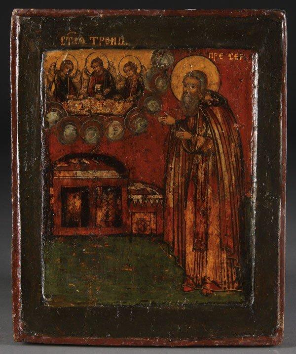 23: RUSSIAN ICON ST. SERGEI RADONEZHSKIY, 17/18TH C.