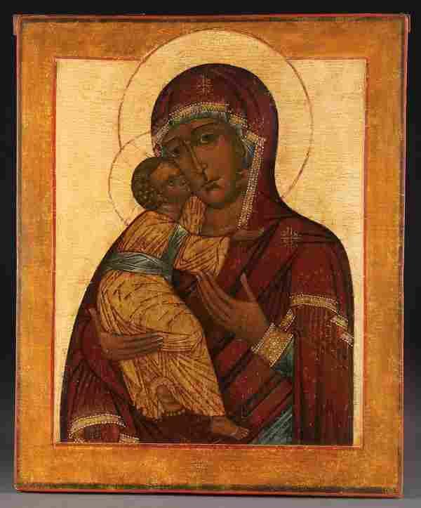 RUSSIAN ICON VLADIMIR MOTHER OF GOD, 18TH C.