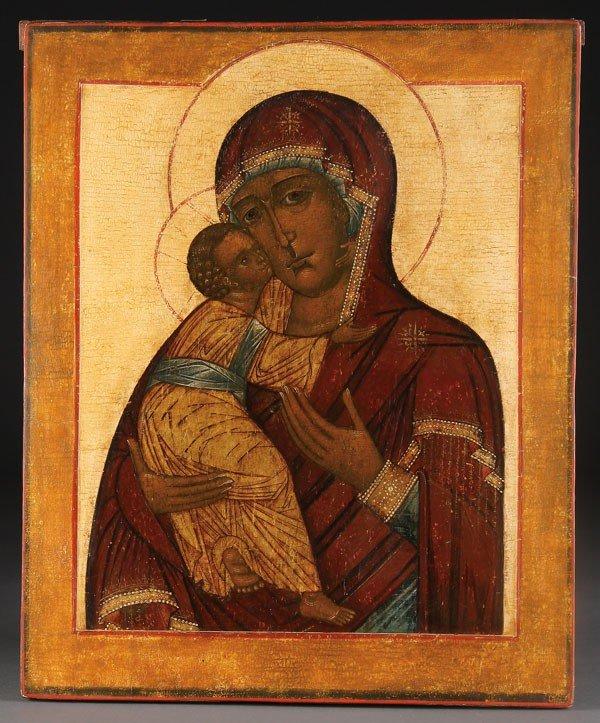24: RUSSIAN ICON VLADIMIR MOTHER OF GOD, 18TH C.