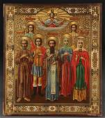 47: A RUSSIAN ICON OF SELECTED SAINTS CIRCA 1900