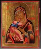 391: RUSSIAN ICON VLADIMIR MOTHER OF GOD, 19TH C.