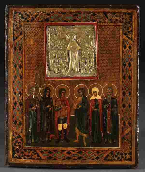 RUSSIAN ICON: SELECTED SAINTS WITH INSET ICON, 19