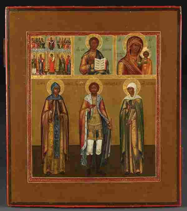 A RUSSIAN ICON: SELECTED SAINTS, CIRCA 1890
