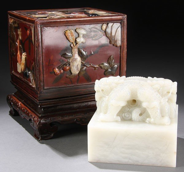 480: CHINESE CARVED IMPERIAL WHITE JADE SEAL, QING