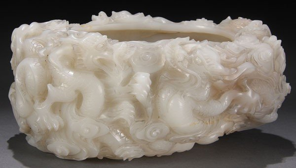 482: CHINESE CARVED WHITE JADE DRAGON BRUSHWASHER, QING