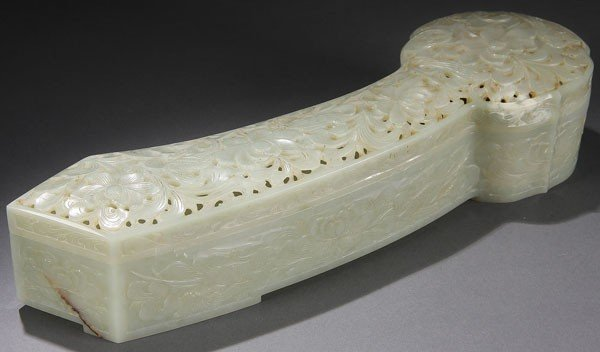 483: CHINESE CARVED WHITE JADE RYUI SCEPTER  QING