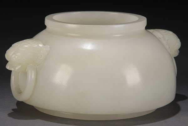 489: CHINESE CARVED WHITE JADE BRUSH WASHER, QING