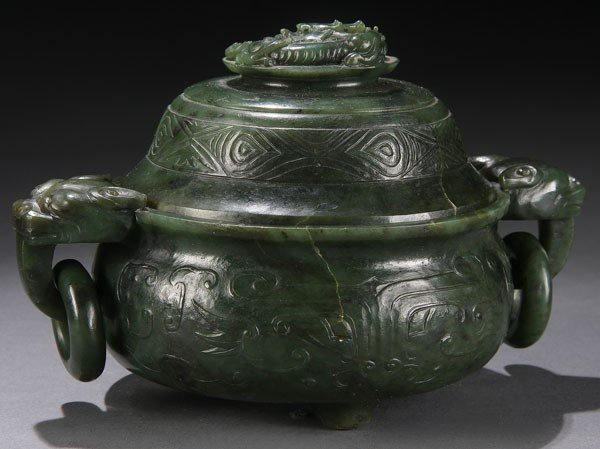 490: A FINE CHINESE CARVED JADE CENSER, QING DYNASTY