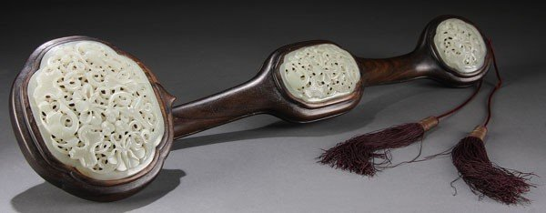 492: CHINESE CARVED WHITE JADE & HARDWOOD RUYI SCEPTER,