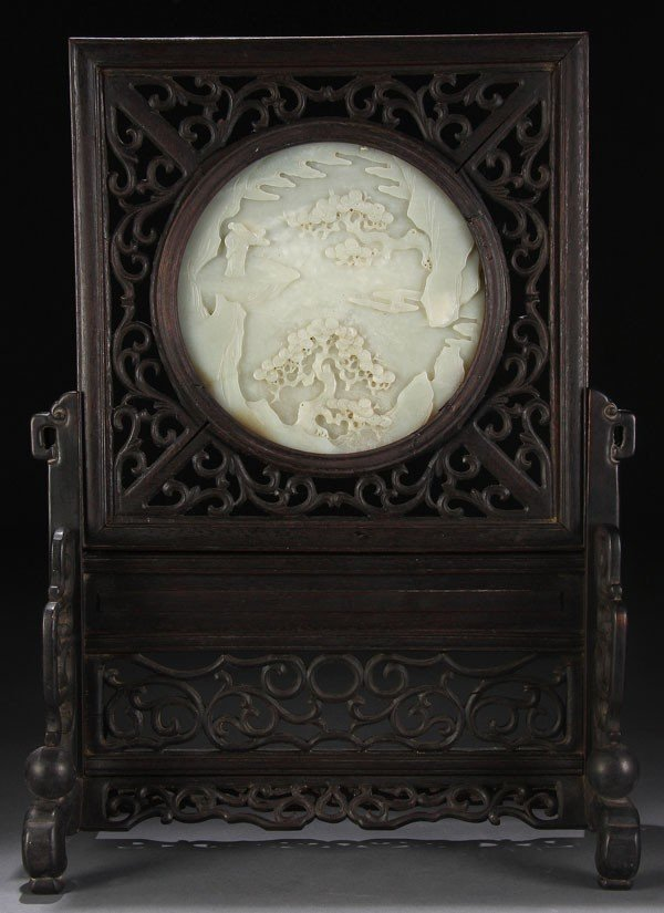 493: CHINESE CARVED WHITE JADE TABLESCREEN, QING