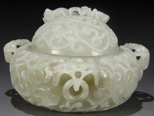 495: CHINESE CARVED WHITE JADE MUGHAL STYLE  POT QING