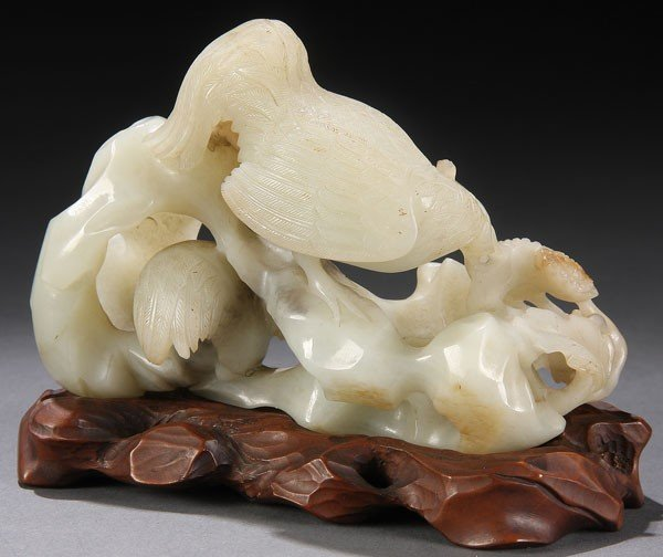 500: CHINESE CARVED WHITE JADE COCKERELS, QING