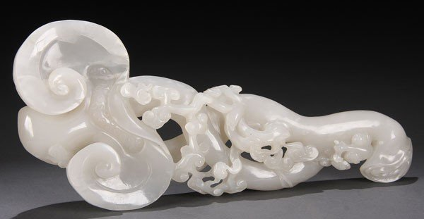 502: CHINESE CARVED WHITE JADE RUYI SCEPTER BRUSH REST