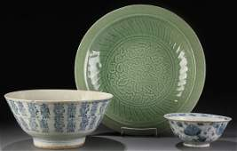 538 3PC GROUP OF CHINESE CERAMICS 1819TH C