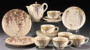 914: 15 PIECE JAPANESE SATSUMA PARTIAL TEA SET, MEIJI