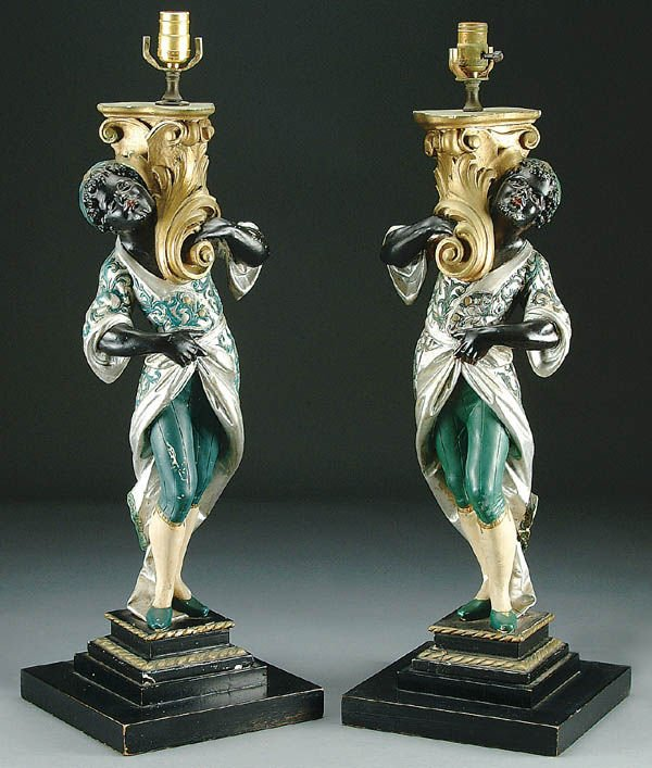295: A PAIR OF BLACKAMOOR STYLE TABLE LAMPS mid 20th c