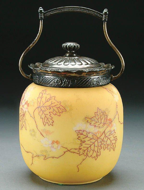 23: A MT. WASHINGTON CRACKER JAR circa 1890 with silv