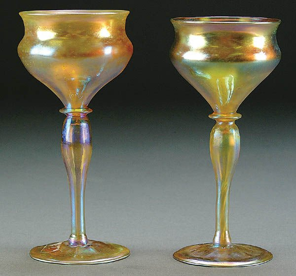 15: A PAIR OF L.C. TIFFANY FAVRILE GLASS WINES early