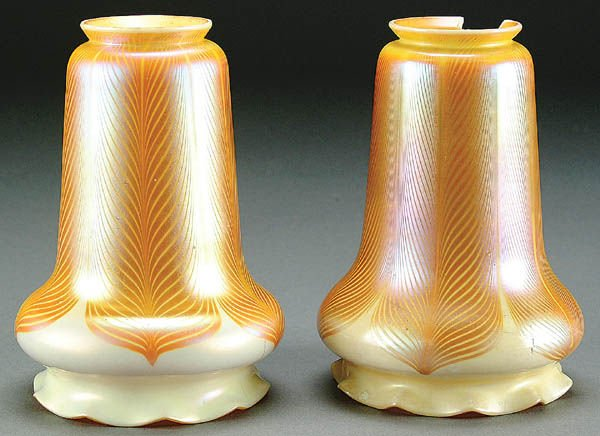 8: A PAIR OF ART GLASS LAMPSHADES early 20th century