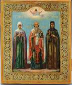 555: A VERY FINE RUSSIAN ICON: Selected Saints, circa