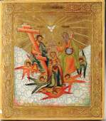549 A FINE RUSSIAN ICON Coronation of the Mother of