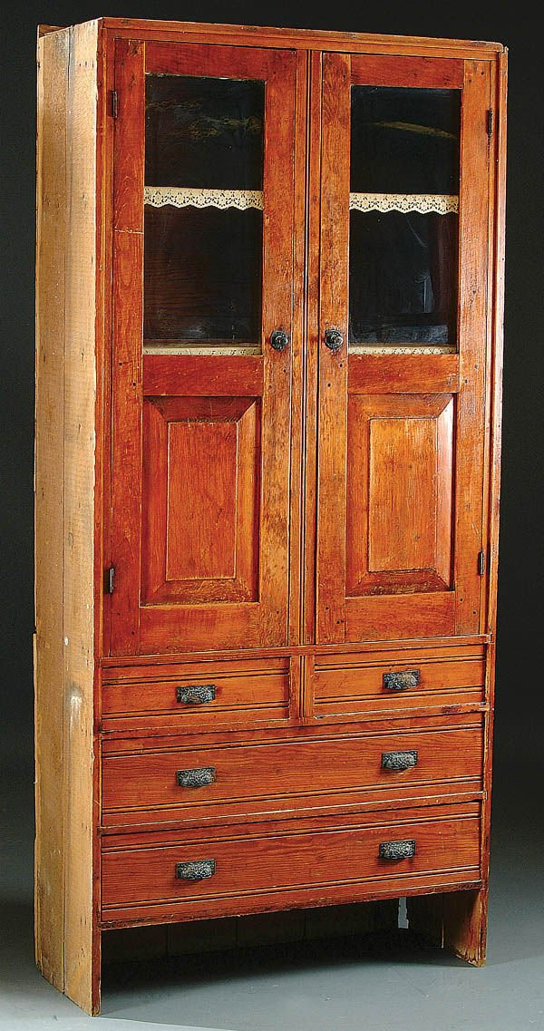 389: A 19TH CENTURY PINE CHIMNEY CUPBOARD with carved