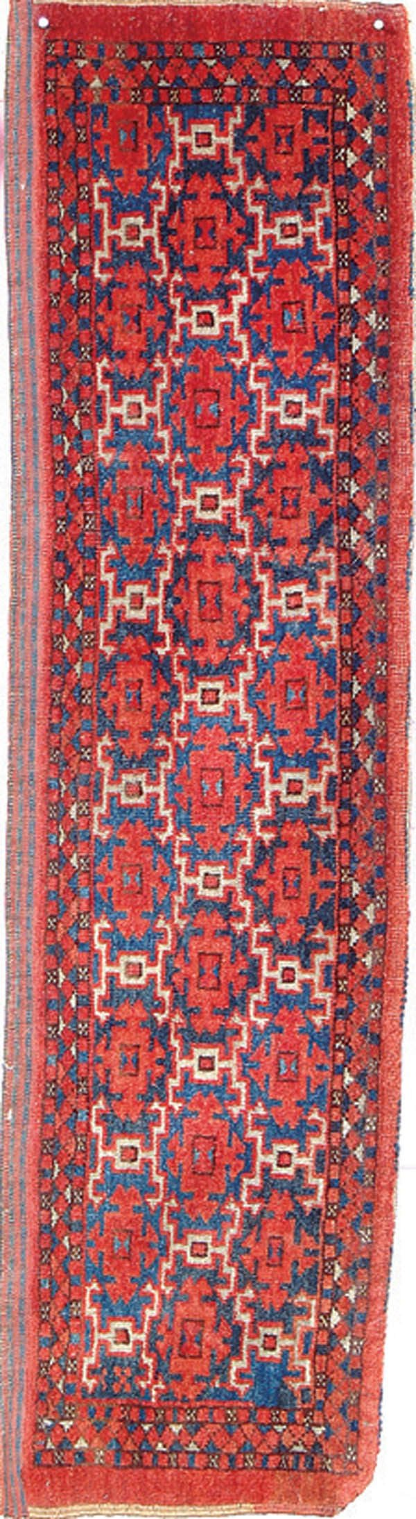 826: A SMALL ORIENTAL RUNNER HAND WOVEN 13 inches x 49