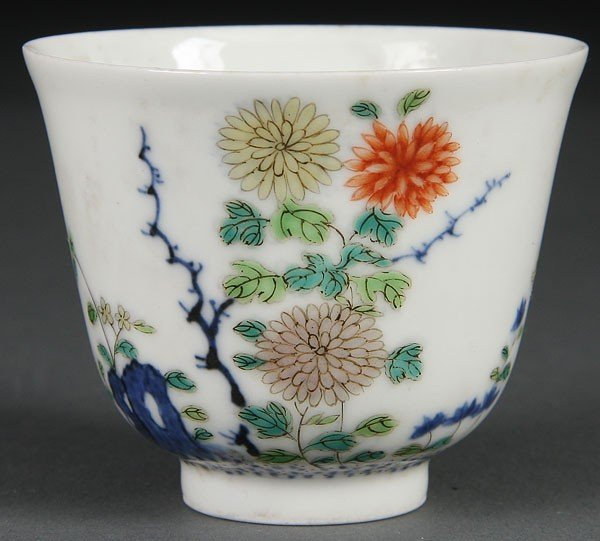 2:  CHINESE QING DYNASTY  PORCELAIN DOUCAI WINE CUP