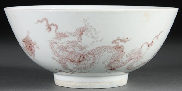 3: A CHINESE QING DYNASTY COPPER RED DRAGON BOWL
