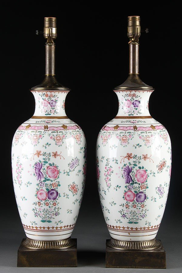 12: PAIR OF CHINESE FAMILLE ROSE PORCELAIN VASES