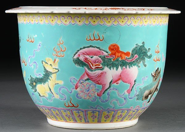 16: A CHINESE FAMILLE ROSE COPPER RED JARDINIERE