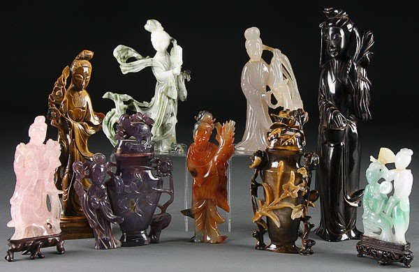 89: CHINESE CARVED JADE, STONE & AMBER QUAN YIN GROUP