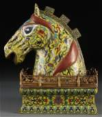 100 CHINESE GILT BRONZE  CLOISONN FIGURAL CONTAINER