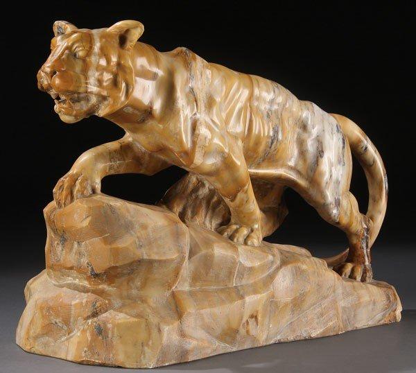 190: LARGE MARBLE FIGURE OF A LION, PUGI