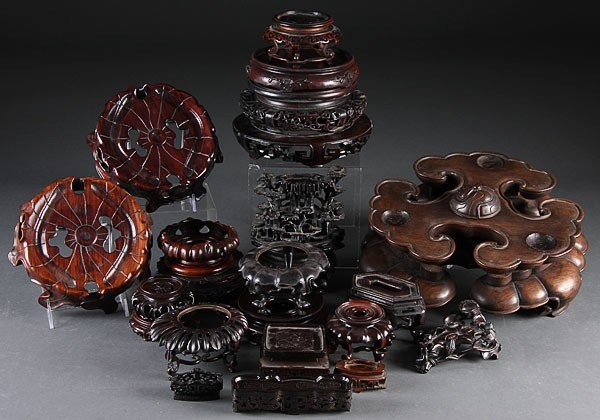 224: OVER 175 CHINESE CARVED HARDWOOD DISPLAY STANDS