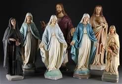 367: 7 RELIGIOUS CATHOLIC DEVOTIONAL STATUES