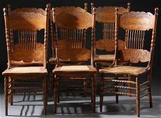 373: 6 VERY FINE VICTORIAN OAK PRESSED BACK SIDE CHAIRS