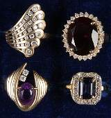 625 4 DIAMOND  SEMI PRECIOUS GEMSTONE 14K GOLD RINGS