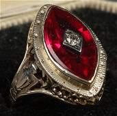 626 DIAMOND RUBY  14K YELLOW GOLD ART DECO RING