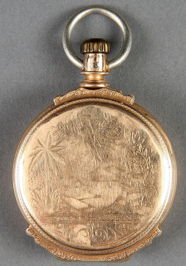 660: AN ELGIN 14K GOLD HUNTING CASE POCKET WATCH