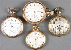 662 FOUR GOLD FILLED POCKET WATCHES WALTHAM ELGIN