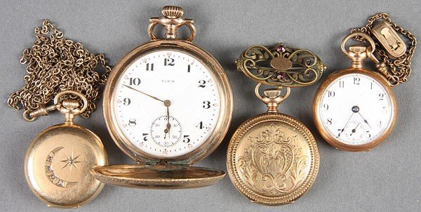 663: TWO 14K GOLD POCKET WATCHES, CIRCA 1900
