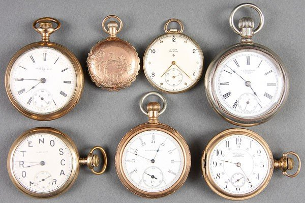 664: SEVEN VINTAGE POCKET WATCHES WALTHAM ELGIN