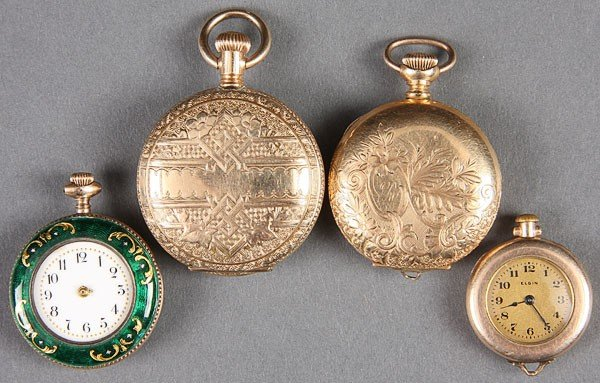 665: TWO GOLD FILLED HUNTING CASE WATCHES, CIRCA 1900.