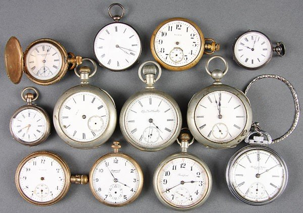 666:  12 VINTAGE POCKET WATCHES ART DECO GOLD FILLED