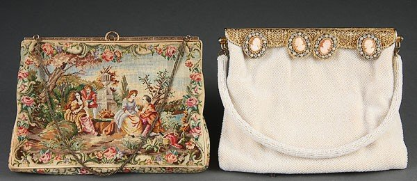 670: 2 FRENCH VINTAGE PURSES BEADED WOVEN CAMEO