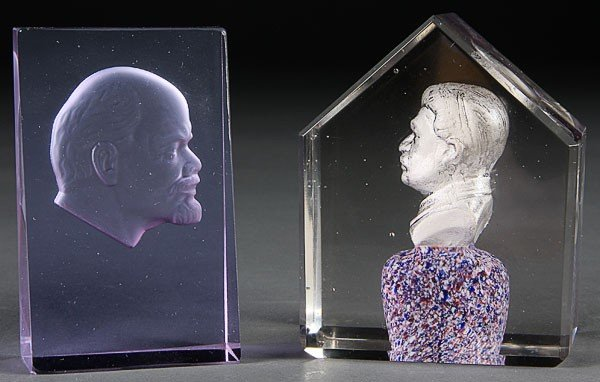 676: RUSSIAN CUT GLASS PAPERWEIGHTS LENIN STALIN